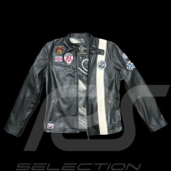 Veste cuir Jean-Pierre Jarier F1 Team Noir Black leather jacket Schwarz Lederjacke homme