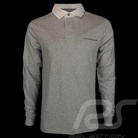 Porsche polo shirt Classic light grey / white collar long sleeves Porsche WAP916 - men