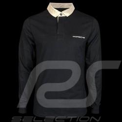 Porsche polo shirt Classic navy blue / white collar long sleeves Porsche WAP917 - men