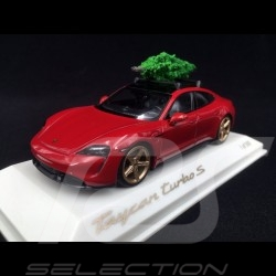 Porsche Taycan Turbo S 2020 carmin red with Christmas tree 1/43 Minichamps WAP0200000MPLG