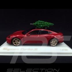 Porsche Taycan Turbo S 2020 rouge carmin avec sapin de Noël 1/43 Minichamps WAP0200000MPLG Christmas tree Weihnachtsbaum
