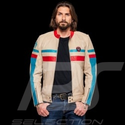 Leather jacket 24h Le Mans 66 Hunaudieres beige / turquoise / red - men