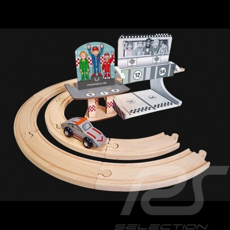 Porsche Racing  wooden track Finish podium with 1 car and 11 rails Eichhorn 109475860