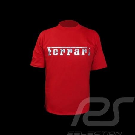 T-shirt Ferrari silver logo red Men