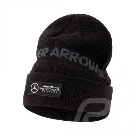 Mercedes AMG Petronas Lapel Beanie Puma 37.5 Technology Ribbed wool Black