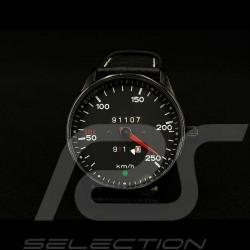 Montre compteur de vitesse Porsche 911 250 km/h boitier noir / fond noir / chiffres blancs watch uhr