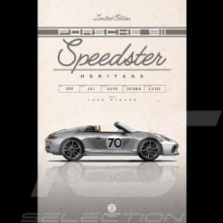 Plakat Porsche 911 Speedster type 991 2019 Drückplatte auf Aluminium Dibond 40 x 60 cm Helge Jepsen