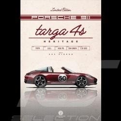 Affiche Porsche 911 Targa 4S Heritage type 992 2020 imprimée sur plaque Aluminium Dibond 40 x 60 cm Helge Jepsen Poster Plakat