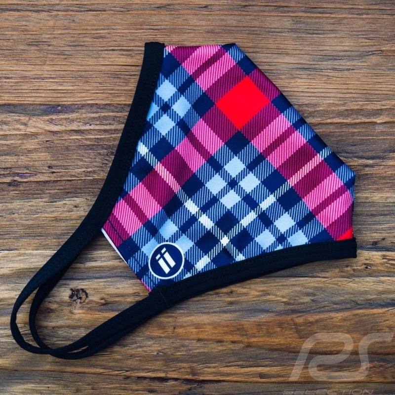 Martini tiles mask Tartan pattern Protective and washable Blue / red Size S - Women