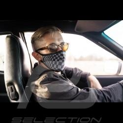 Pasha tiles mask Tartan pattern Protective and washable Black / grey Size L - Men