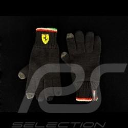 Ferrari knit gloves for touch screen Black