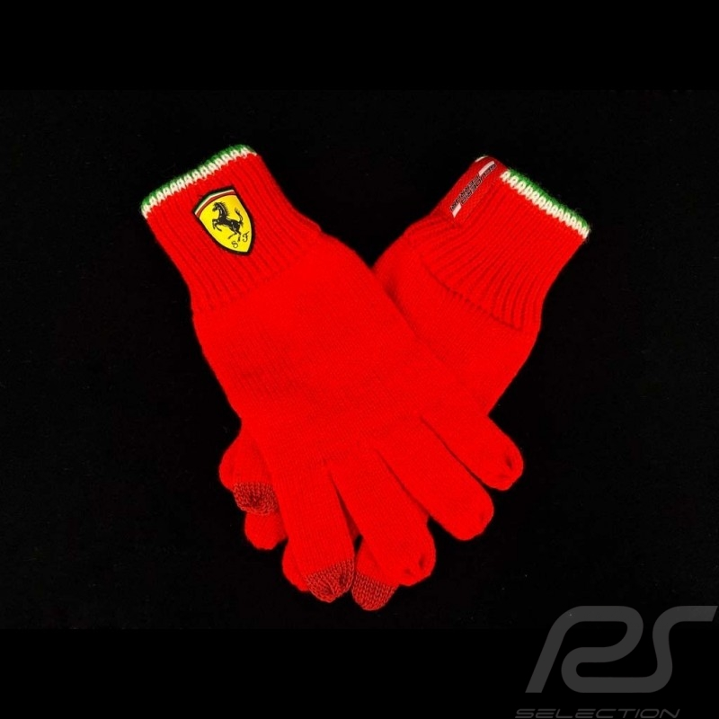 Ferrari knit gloves for touch screen Red