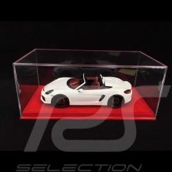 Vitrine 1/18 pour miniature Porsche Base alcantara rouge qualité premium