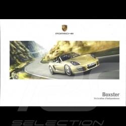 Porsche Brochure Boxster Déclaration d'indépendance 06/2013 in french WSLB1401000130