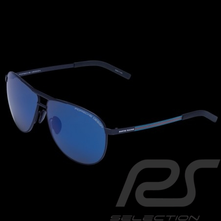 Porsche Martini racing Sonnenbrille Martini Streifen Rahmen / Blau verspiegelte Gläser WAP0786420KM62 - Unisex