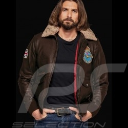 Veste jacket Jacke cuir Style aviateur Royal Air Force Britten Marron - homme