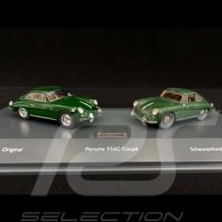 Set Porsche 356 C Scheunenfund und restauriert 1964 Irishgrün 1/43 Schuco 10051