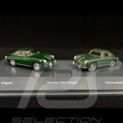 Set Porsche 356 C Version sortie de grange et Version restaurée 1964 vert irlandais Irishgreen Irischgrün 1/43 Schuco 10051