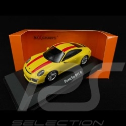 Porsche 911 R type 991 Yellow with red stripes 2016 1/43 Minichamps 940066221