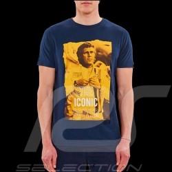 Steve McQueen T-shirt Le Mans Iconic driver Navy blue - Men