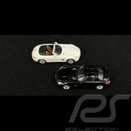 Set Mercedes Benz AMG SLS Coupe 2010 black & AMG SLS Cabriolet 2011 white 1/87 Schuco 452599700