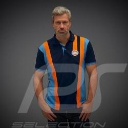 Gulf Poloshirt Racing Stripes Marineblau - Herren