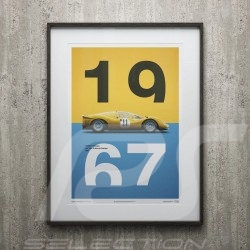 Poster Ferrari 412P Yellow Spa-Francorchamps 1967 Limited Edition
