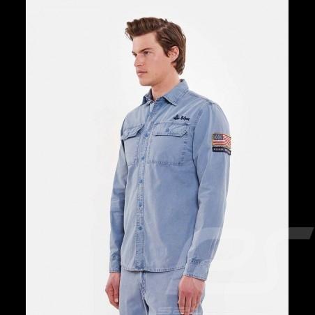 Steve McQueen Shirt US army Grau Blau - Herren