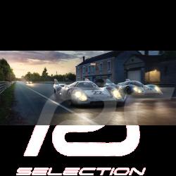 Luxusrahmenkunstwerk Trio Porsche 917 Le Mans 1971 Sieger 50 x 24 cm
