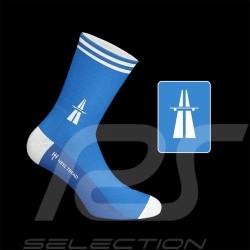 Autobahn Socken Blau / Weiß - Unisex - Größe 41/46