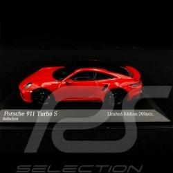 Porsche 911 Turbo S Type 992 2020 Rouge Noir 1/43 Minichamps 413069479 - Edition Limitée