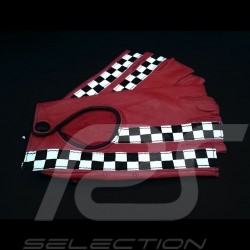 Fahren Handschuhe fingerless Leder Racing Rot / schwarz Zielflagge