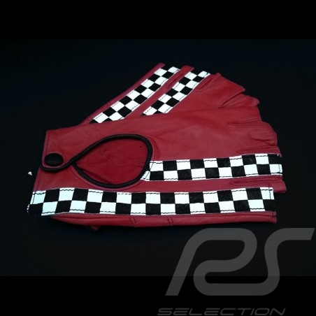 Driving Gloves fingerless mittens leather Racing Red / black checkered flag