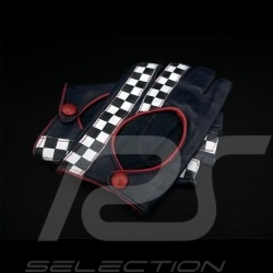 Driving Gloves fingerless mittens leather Racing Navy blue / red checkered flag