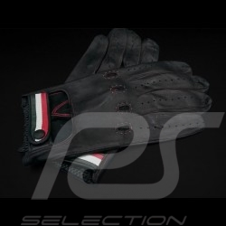 Fahren Handschuhe Italia Racing Schwarz Leder Tricolor Band