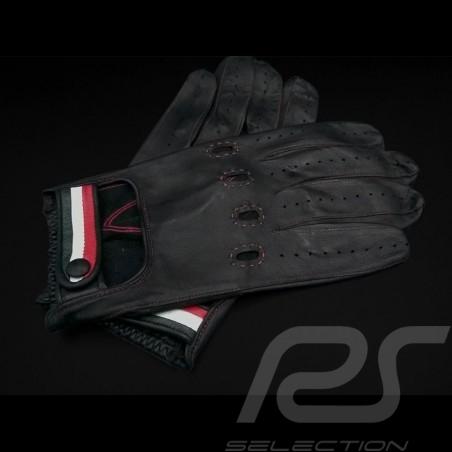 Gants de conduite Italia Racing Cuir Noir Bande tricolore Driving Gloves Fahren Handschuhe