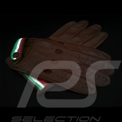 Gants de conduite Italia Racing Cuir Marron Bande tricolore Driving Gloves Fahren Handschuhe