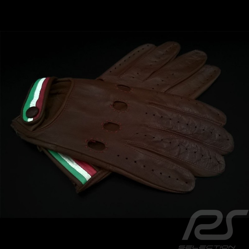 Driving Gloves Italia Racing Leather Brown Tricolor band