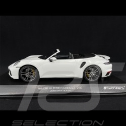 Porsche 911 Turbo S Cabriolet Type 992 2020 Metallic Carrara White 1/18 Minichamps 155069080