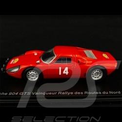 Exemplaire n° 1 / 300 Porsche 904 GTS n° 14 Vainqueur Rallye des Routes du Nord 1965 1/43 Spark SF164