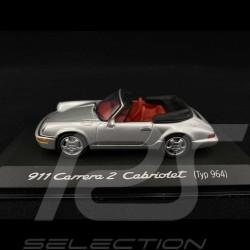 Porsche 911 Carrera 2 Cabriolet type 964 1990 silver metallic 1/43 Minichamps WAP02003897