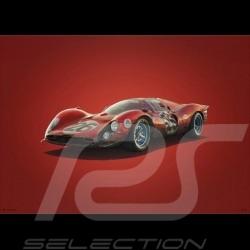 Poster Ferrari 412P Rouge red rot 24H Daytona 1967 Edition Limitée