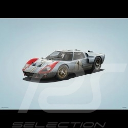Ford Poster GT40 Blue 2nd 24h Le Mans 1966 n° 1 - Colors of Speed