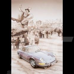 carte postale postcard postkarte Porsche 911 S Steve McQueen François Bruère - VA88