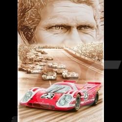 Porsche Poster Porsche 917 K n° 23 Winner 24H Le Mans 1970 Steve McQueen François Bruère - VA158