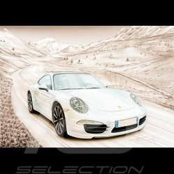 Poster Porsche 911 Type 991 Blanc Montagne François Bruère - VA153