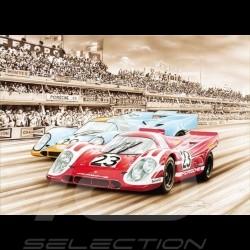Porsche Postkarte Porsche 917 K n° 23 Sieger 24H Le Mans 1970 Steve McQueen François Bruère - CP191