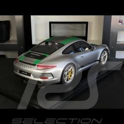 Porsche 911 R Type 991 2016 GT Silver with green stripes 1/8 Minichamps 800652001