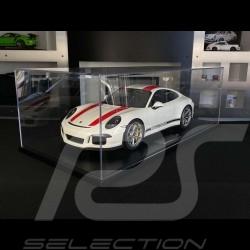 Porsche 911 R Type 991 2016 Pure White with red stripes 1/8 Minichamps 800652000