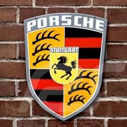 Plaque émaillée Porsche écusson original années 60 Vintage 45 x 38 cm 64470100710 Crest Enamel plate Emailleschild
